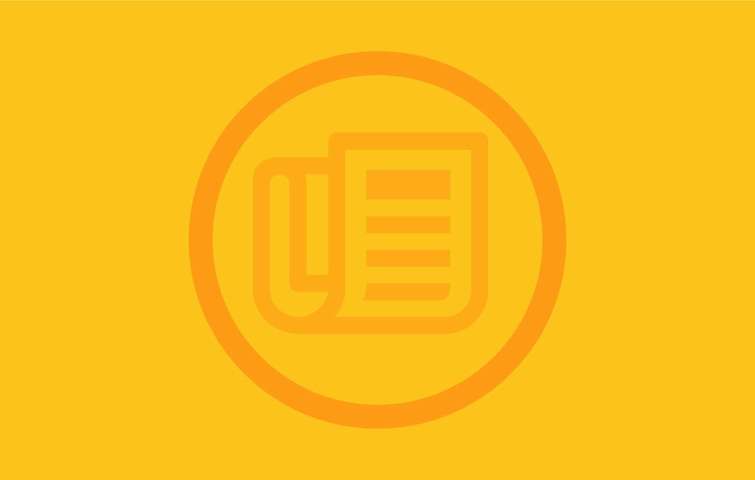 Grafik: Papier im Wickelfalz mit Kreis darum auf gelbem Hintergrund